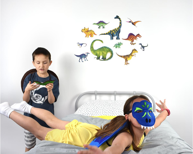 Large dinosaur wall decal with children playing