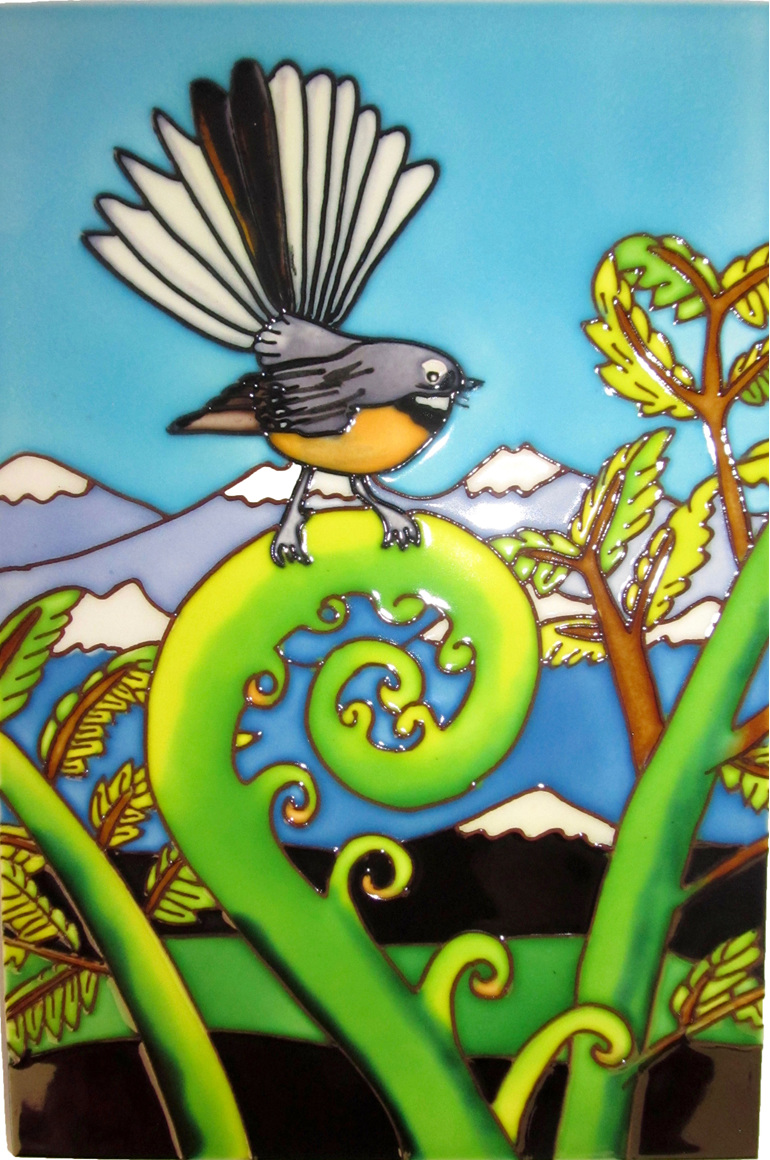 Large Fantail Ceramic Tile wall hanging.