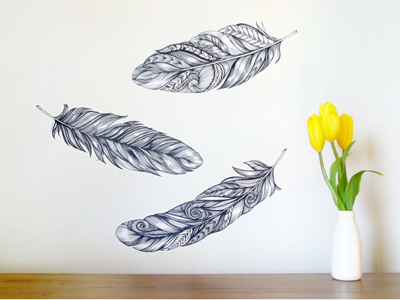 Large feathers wall decal