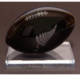 Large Glass Rugby Ball Ornament & shipping