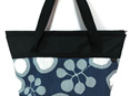 Large handbag with zip and pockets, made from sailcloth and fabric