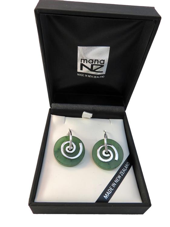 Large Koru New Zealand greenstone earrings