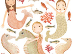 Large mermaid wall decal sheet
