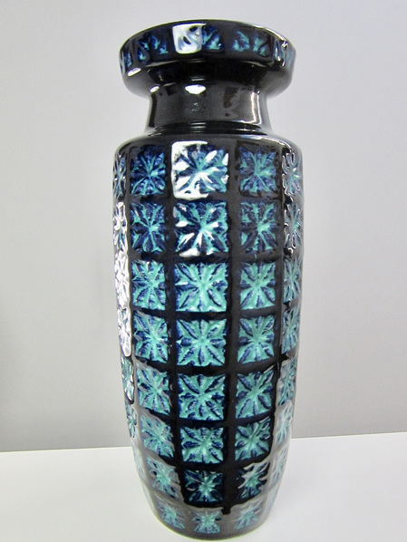 Large Mid-Century Scheurich Prisma Vase in Turquoise and Blue
