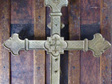 Large Ornately Decorated Vintage Religious Crucifix  / Brass Cross
