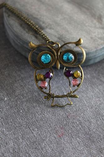 Large Owl Jeweled Pendant Necklace