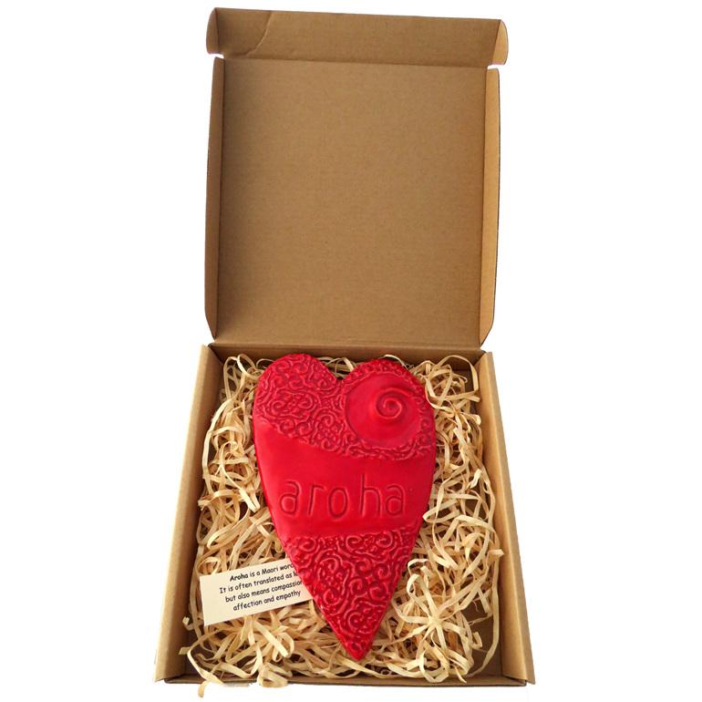 Large red Koru ceramic Aroha heart