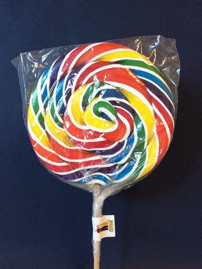 LARGE ROUND WHITE RAINBOW, COLA  FLAVOUR POP, 15CM