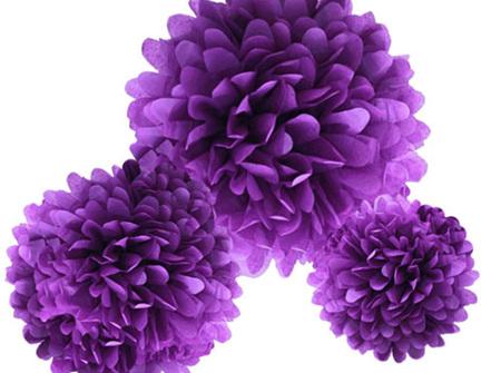 Large royal purple pom pom - 42cm