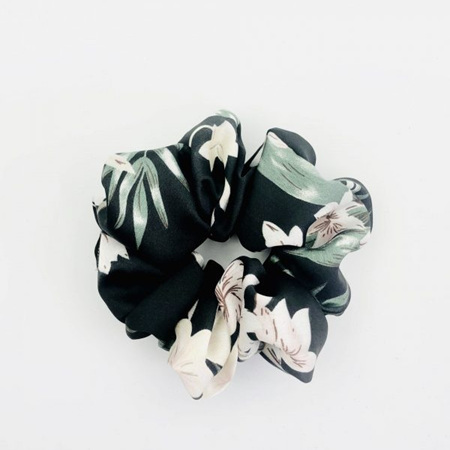 Large Scrunchie - Black, Pink  & Green Floral