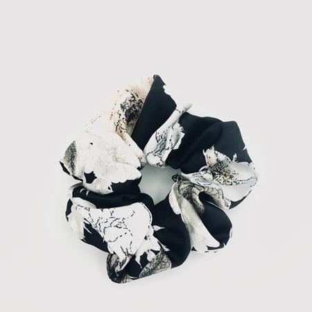Large Scrunchie - Black & White Floral