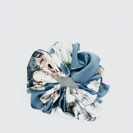 Large Scrunchie - Blue, White & Pink Floral