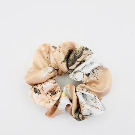 Large Scrunchie - Deep Cream & White Floral