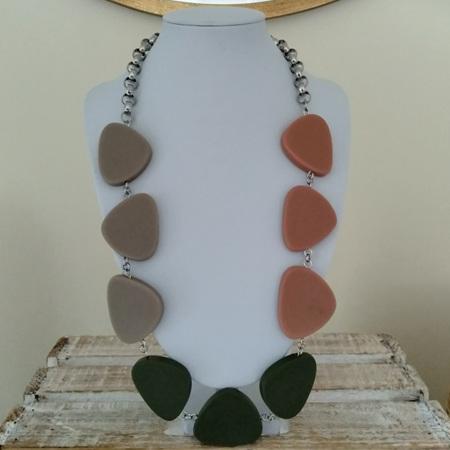 Large Triangle Flat Trio Colour Necklace - Camo Green, Stone & Clay
