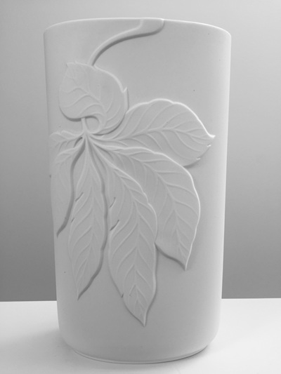 Large Vintage White Porcelain Vase with Leaf Motif by Thomas
