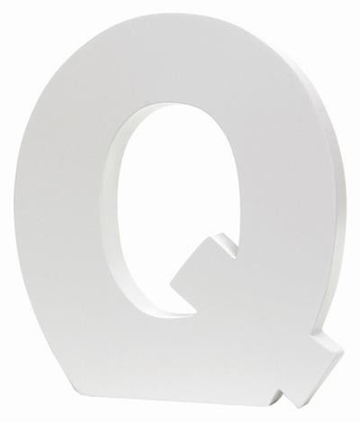 Large White Letter - Q
