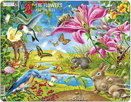 Larsen 55 Piece Tray Jigsaw Puzzle Flowers and Bees