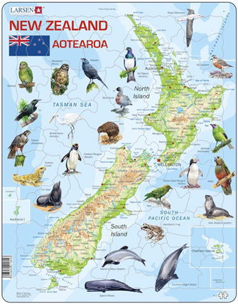 Larsen Tray Jigsaw Puzzle  Map of NZ