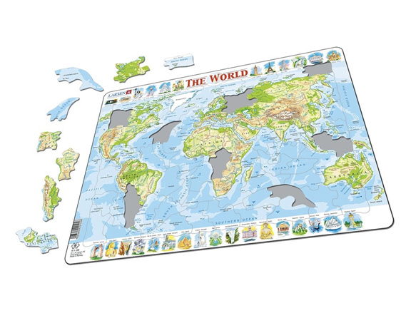 Larsen tray childrens jigsaw puzzles available online nz at www larsen tray jigsaw puzzle physical world map buy online at puzzlesnz gumiabroncs Gallery