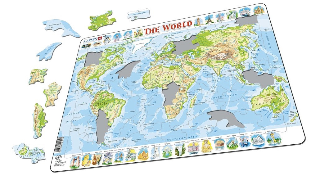 Larsen tray childrens jigsaw puzzles available online nz at www larsen tray jigsaw puzzle physical world map nz1595 gumiabroncs Image collections