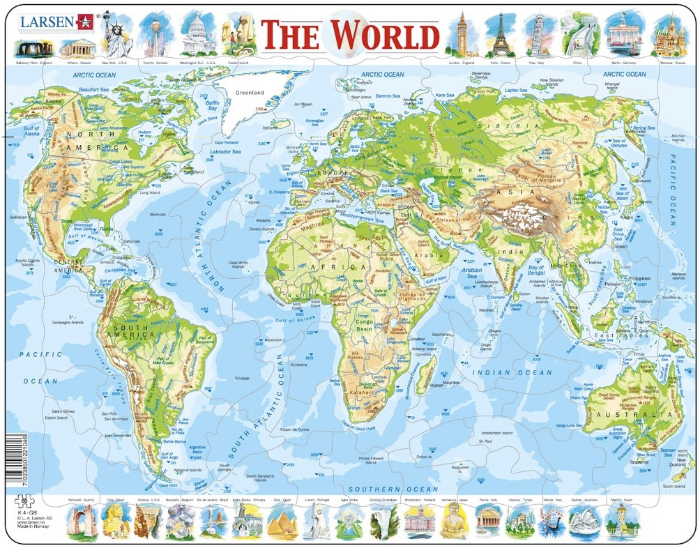 Larsen tray childrens jigsaw puzzles available online nz at www larsen tray jigsaw puzzle physical map of the world 80 pieces gumiabroncs Images