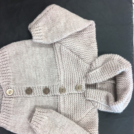 Latte Pure Wool Hooded Jacket - 0-6 months