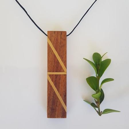 LAUGH - Blackwood with Kauri Inlay Pendant
