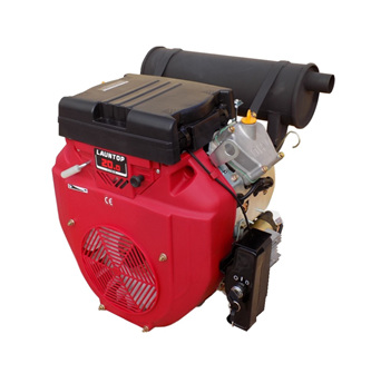 Launtop 20HP V Twin Cylinder Petrol Engine with Electric Start - 28.6mm Shaft