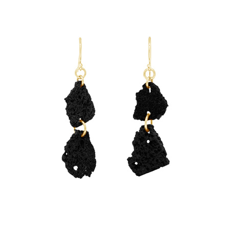 Lava Double Drop Yellow Gold Earrings