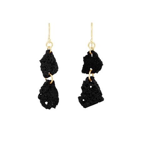 Lava Double Drop Yellow Gold Earrings