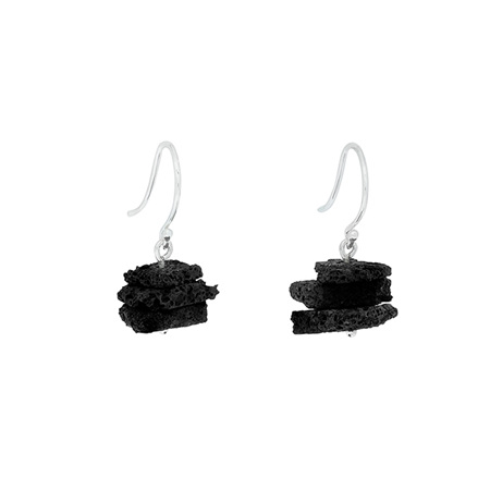 Lava Sterling Silver Triple Stack Earrings