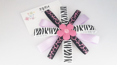 Lavender and White Tiger Print Hair Bow