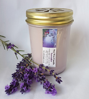 Lavender soy wax candle.  Made in NZ by Lavender Magic