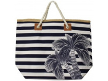 Lavida Beach Bag Navy Palm Stripe