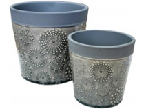 Lavida Pot Glazed Grey S/2