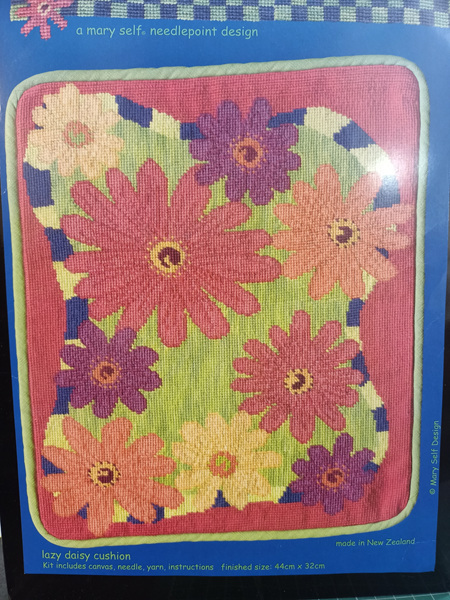 Lazy Daisy Needlepoint Cushion Kit by Mary Self