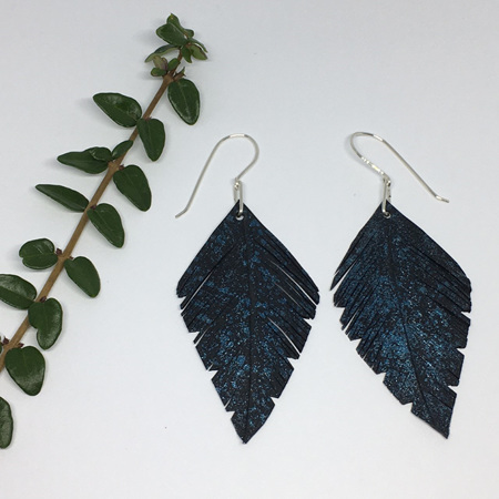 Leaf Earrings with Blue