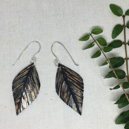 Leaf Earrings with Gold