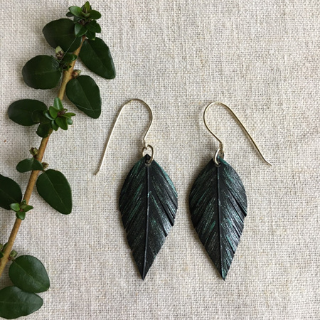 Leaf Earrings with Green