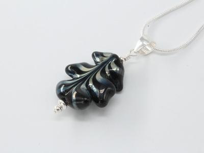 Leaf pendant - Gaia on black