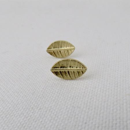 Leaf Stud Earrings - 14k Yellow Gold