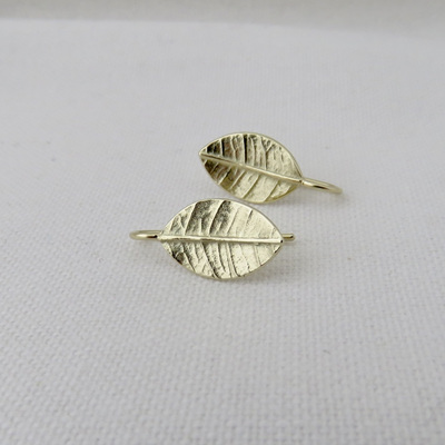 Leafy Drop Earrings - Solid 14k Yellow Gold