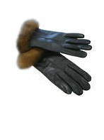 Leather Gloves -  Rabbit Fur Trim -Brown  Size Medium
