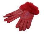 Leather Gloves -  Rabbit Fur Trim  - Red Size Medium