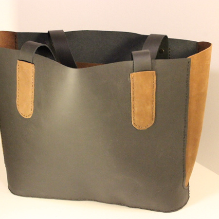 Leather Tote Bag - Large Black with Brown