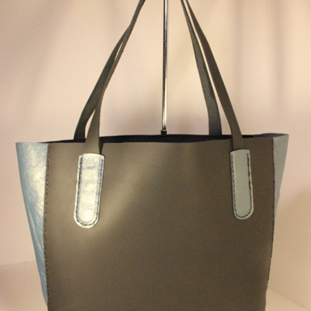 Leather Tote Bag - Small Black with Blue