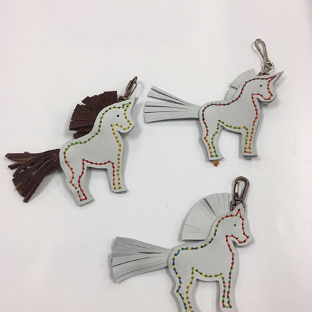 Leather Unicorn Keyrings