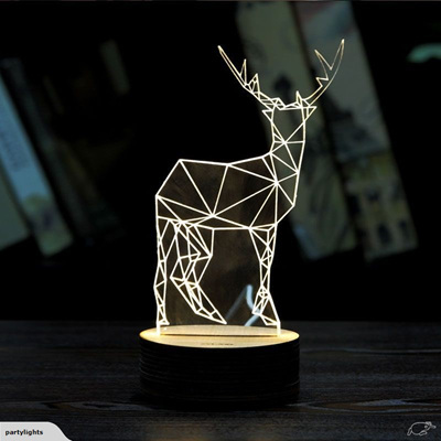 LED 3D Acrylic Deer Lamp USB Night Light / Table Lamp with remote control