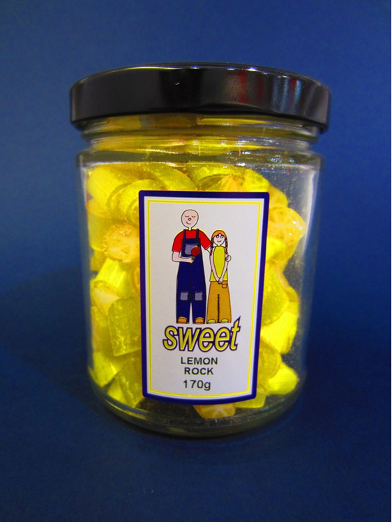 lemon rock candy jar