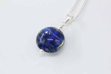 Lentil pendant - cobalt/silver foil